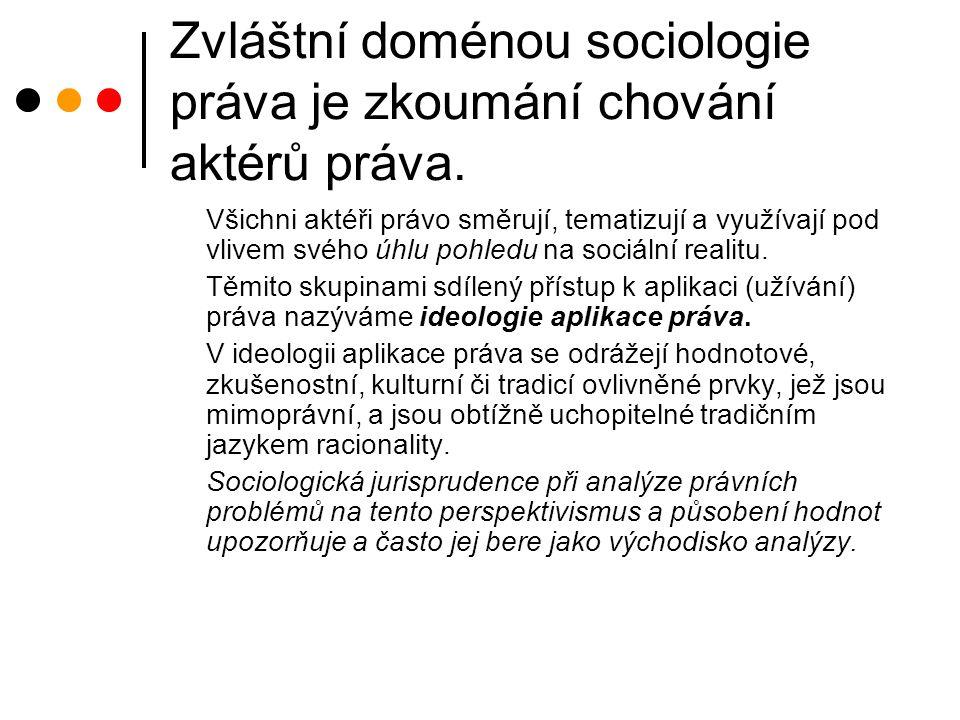 Zvláštní doménou sociologie práva je zkoumání chování aktérů práva.