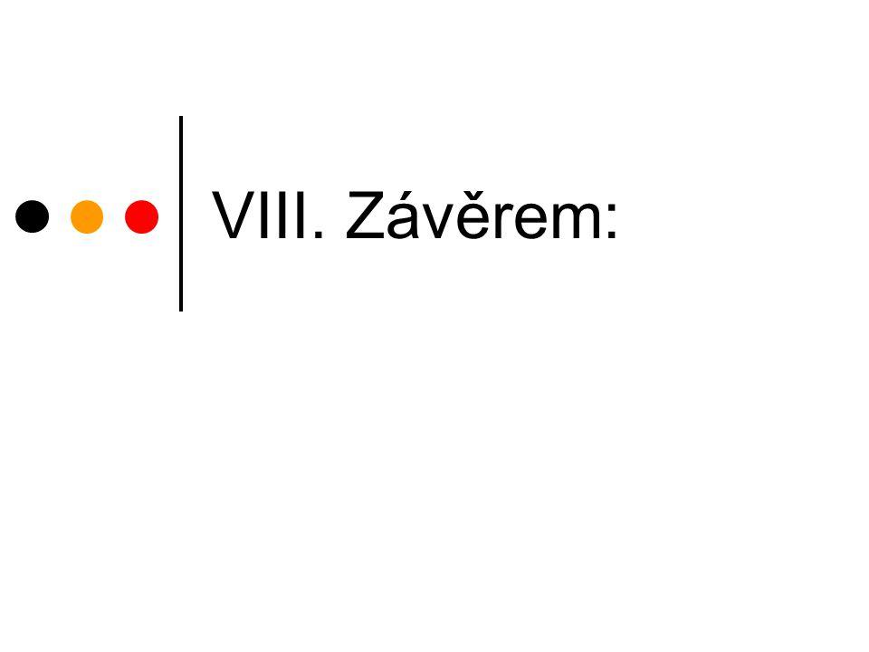 VIII. Závěrem: