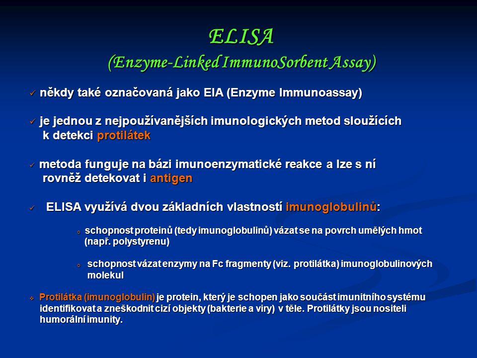 někdy také označovaná jako EIA (Enzyme Immunoassay) někdy také označovaná jako EIA (Enzyme Immunoassay) je jednou z nejpoužívanějších imunologických m