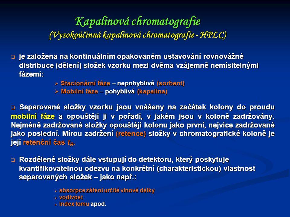 Kapalinová chromatografie (Vysokoúčinná kapalinová chromatografie - HPLC)  je založena na kontinuálním opakovaném ustavování rovnovážné distribuce (d