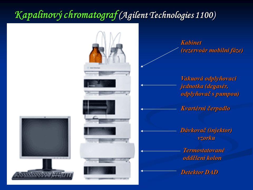 Kapalinový chromatograf (Agilent Technologies 1100) Kabinet (rezervoár mobilní fáze) Vakuová odplyňovací jednotka (degasér, odplyňovač s pumpou) Kvart