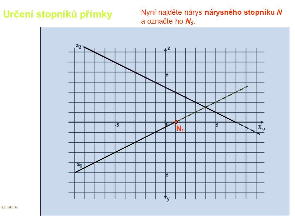 6 Určení stopníků přímky Nejprve najděte (například ) nárysný stopník, začněte jeho půdorysem N 1. Př.: Určete stopníky dané přímky.