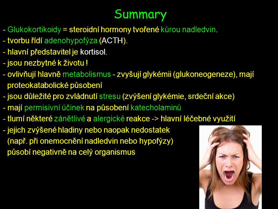 Summary - Glukokortikoidy = steroidní hormony tvořené kůrou nadledvin.