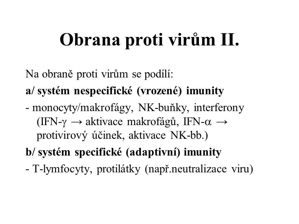 Obrana proti virům II. Na obraně proti virům se podílí: a/ systém nespecifické (vrozené) imunity - monocyty/makrofágy, NK-buňky, interferony (IFN-  →