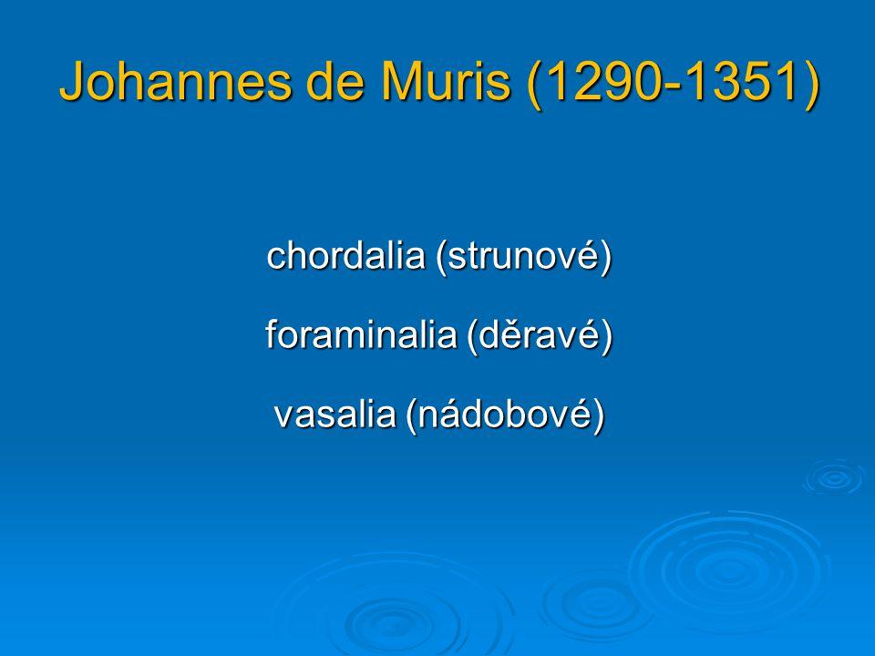 Gioseffo Zarlino (1517-1590) dechové strunovéstrunové bicíbicí  s více trubicemi  s jednou trubicí  s dírkami  bez dírek  s dírkami  bez dírek