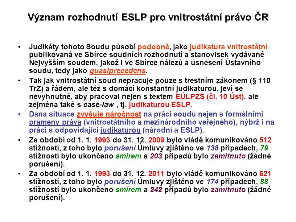 Význam rozhodnutí ESLP pro vnitrostátní právo ČR Judikáty tohoto Soudu působí podobně, jako judikatura vnitrostátní publikovaná ve Sbírce soudních roz