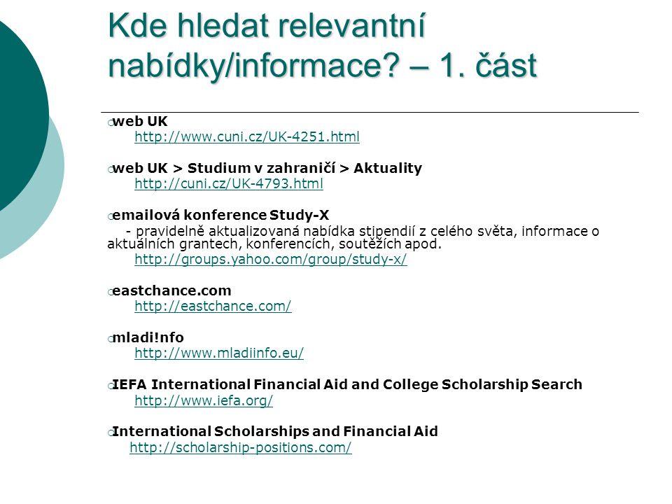Kde hledat relevantní nabídky/informace. – 1.