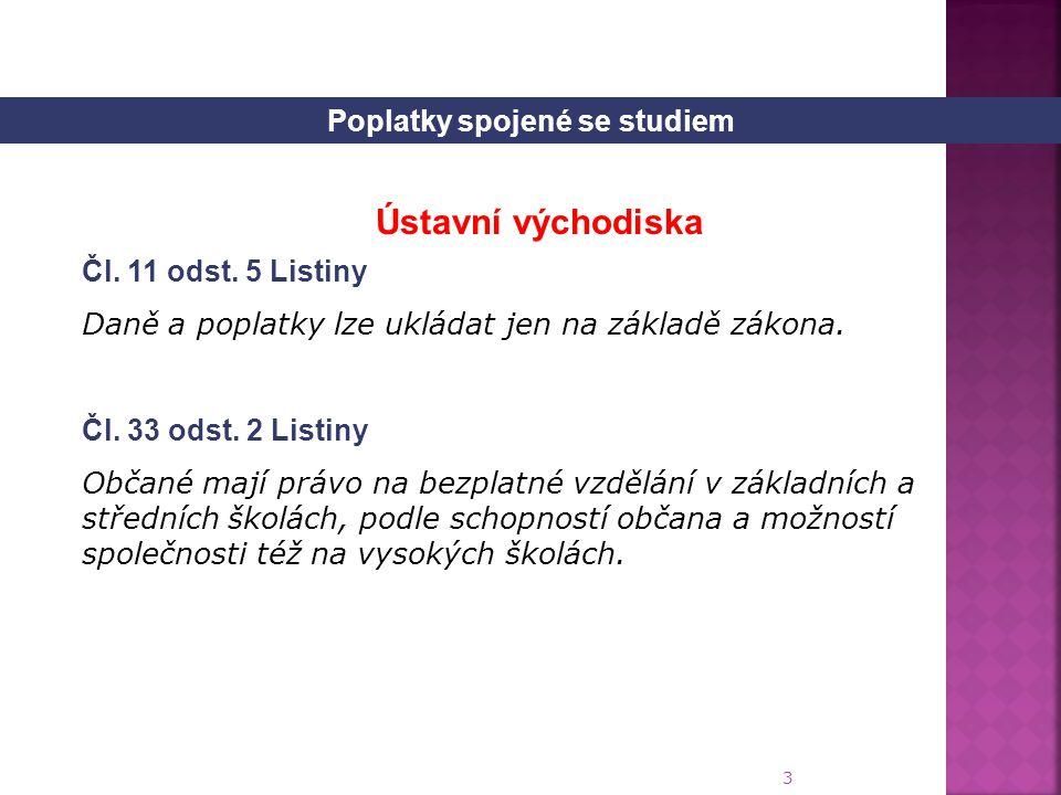 3 Čl.11 odst. 5 Listiny Daně a poplatky lze ukládat jen na základě zákona.
