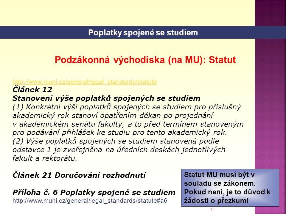 5 http://www.muni.cz/general/legal_standards/statute Článek 12 Stanovení výše poplatků spojených se studiem (1) Konkrétní výši poplatků spojených se studiem pro příslušný akademický rok stanoví opatřením děkan po projednání v akademickém senátu fakulty, a to před termínem stanoveným pro podávání přihlášek ke studiu pro tento akademický rok.