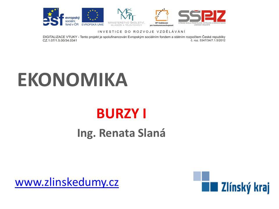 EKONOMIKA BURZY I Ing. Renata Slaná www.zlinskedumy.cz