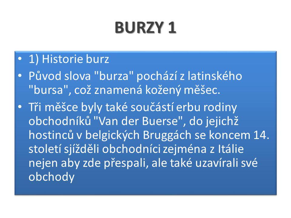BURZY 1 1) Historie burz Původ slova burza pochází z latinského bursa , což znamená kožený měšec.