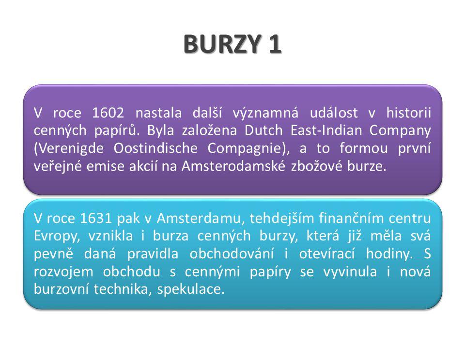 BURZY 1 V roce 1602 nastala další významná událost v historii cenných papírů. Byla založena Dutch East-Indian Company (Verenigde Oostindische Compagni