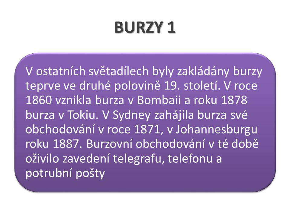 BURZY 1 V ostatních světadílech byly zakládány burzy teprve ve druhé polovině 19.