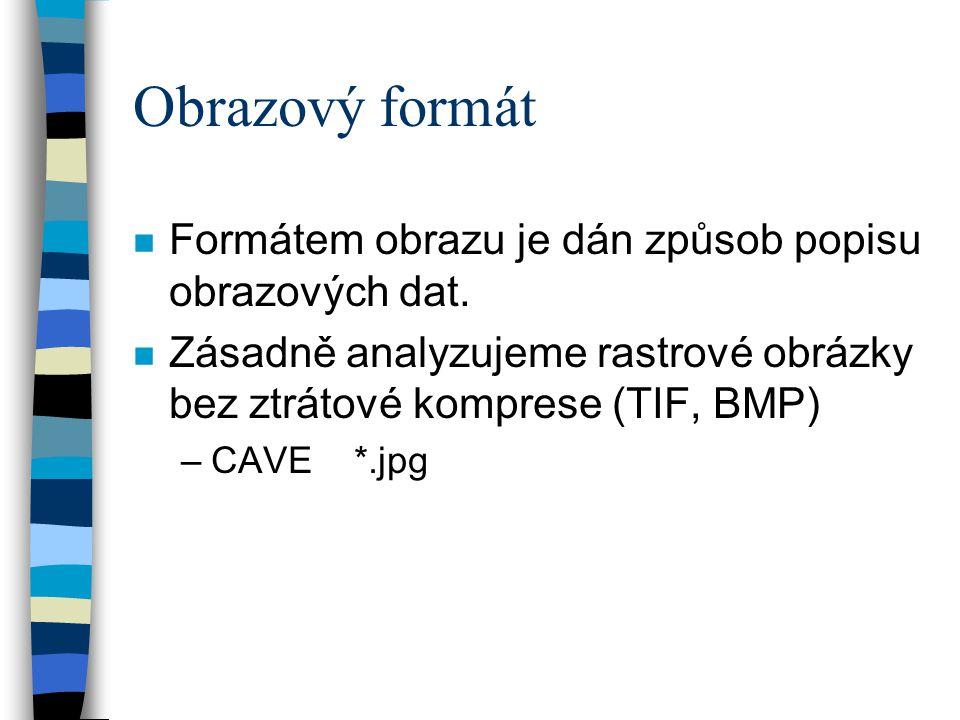 Obrazový formát n Formátem obrazu je dán způsob popisu obrazových dat. n Zásadně analyzujeme rastrové obrázky bez ztrátové komprese (TIF, BMP) –CAVE *