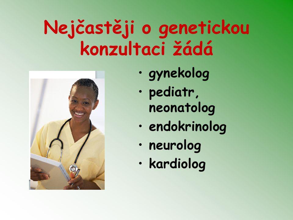 Nejčastěji o genetickou konzultaci žádá gynekolog pediatr, neonatolog endokrinolog neurolog kardiolog