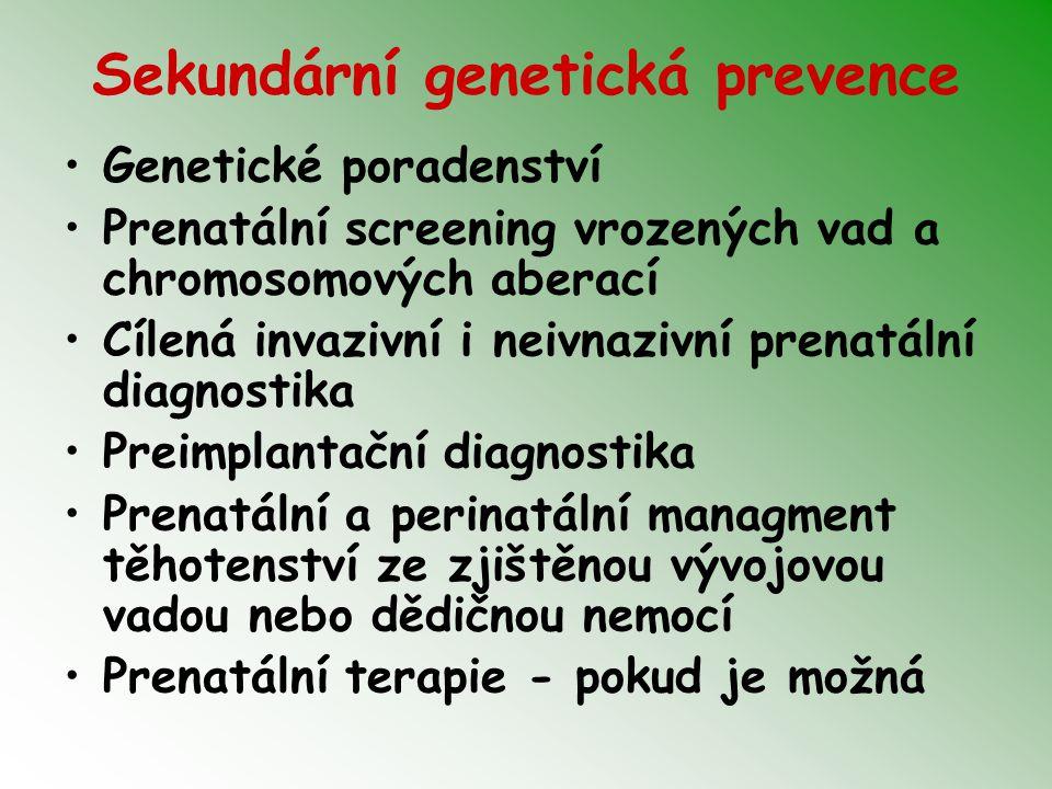 Sekundární genetická prevence Genetické poradenství Prenatální screening vrozených vad a chromosomových aberací Cílená invazivní i neivnazivní prenatální diagnostika Preimplantační diagnostika Prenatální a perinatální managment těhotenství ze zjištěnou vývojovou vadou nebo dědičnou nemocí Prenatální terapie - pokud je možná
