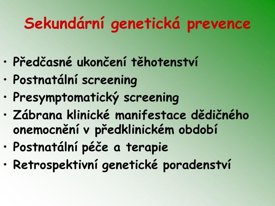 Sekundární genetická prevence Předčasné ukončení těhotenství Postnatální screening Presymptomatický screening Zábrana klinické manifestace dědičného onemocnění v předklinickém období Postnatální péče a terapie Retrospektivní genetické poradenství