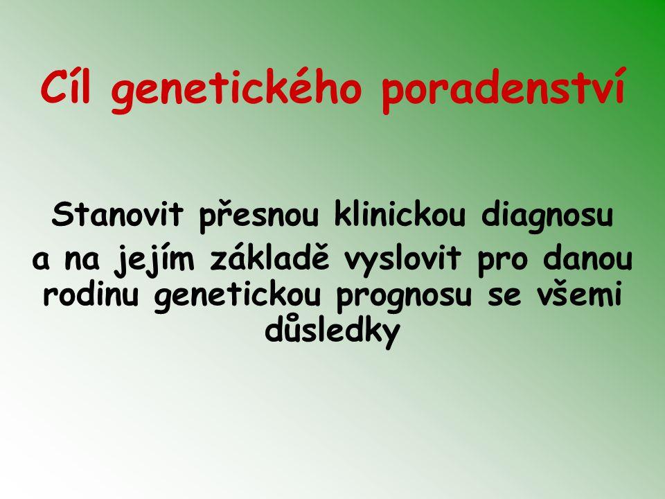 Cíl genetického poradenství Stanovit přesnou klinickou diagnosu a na jejím základě vyslovit pro danou rodinu genetickou prognosu se všemi důsledky