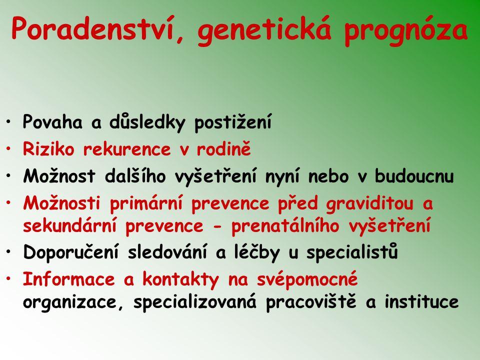 Poradenství, genetická prognóza Povaha a důsledky postižení Riziko rekurence v rodině Možnost dalšího vyšetření nyní nebo v budoucnu Možnosti primární