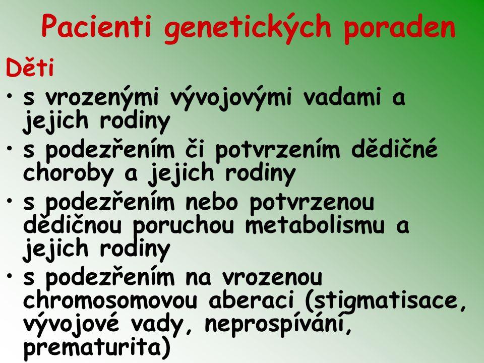 Pacienti genetických poraden Děti s vrozenými vývojovými vadami a jejich rodiny s podezřením či potvrzením dědičné choroby a jejich rodiny s podezřením nebo potvrzenou dědičnou poruchou metabolismu a jejich rodiny s podezřením na vrozenou chromosomovou aberaci (stigmatisace, vývojové vady, neprospívání, prematurita)