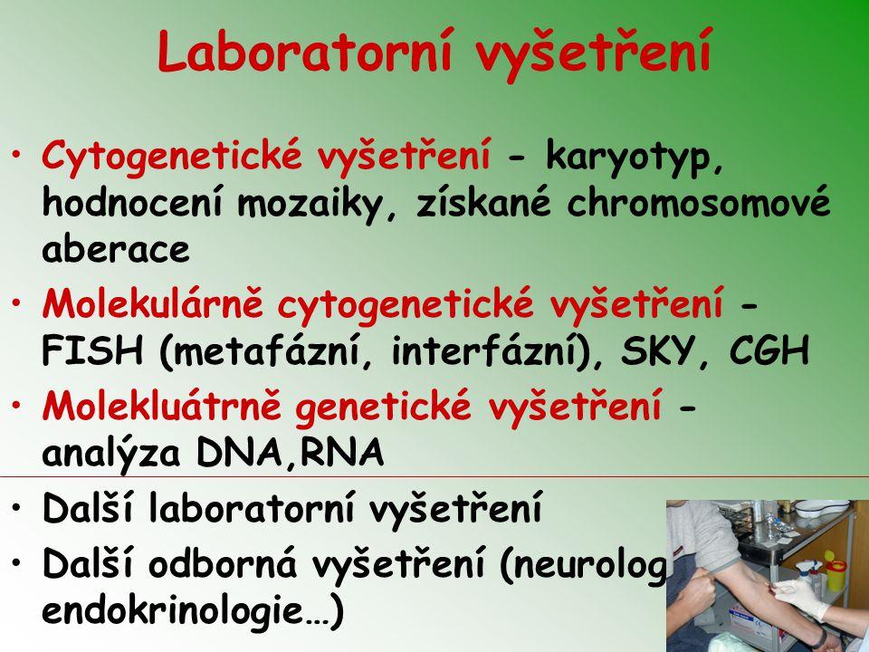 Laboratorní vyšetření Cytogenetické vyšetření - karyotyp, hodnocení mozaiky, získané chromosomové aberace Molekulárně cytogenetické vyšetření - FISH (metafázní, interfázní), SKY, CGH Molekluátrně genetické vyšetření - analýza DNA,RNA Další laboratorní vyšetření Další odborná vyšetření (neurologie, endokrinologie…)