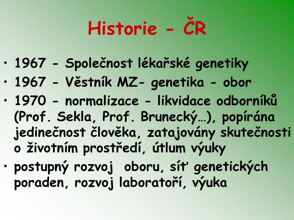 Cytogenetické vyšetření Vrozené chromosomové aberace - stanovení karyotypu Akutní vyšetření - novorozenci, gravidita, vitální indikace, prenatální vyšetření Získané chromosomové aberace - riziko chemikálií, záření (před a po chemo a raditherapii…) Interpretace výsledku, genetické poradenství