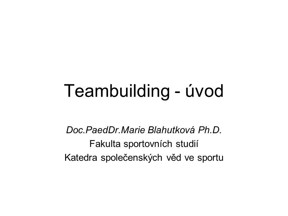 Teambuilding - úvod Doc.PaedDr.Marie Blahutková Ph.D. Fakulta sportovních studií Katedra společenských věd ve sportu
