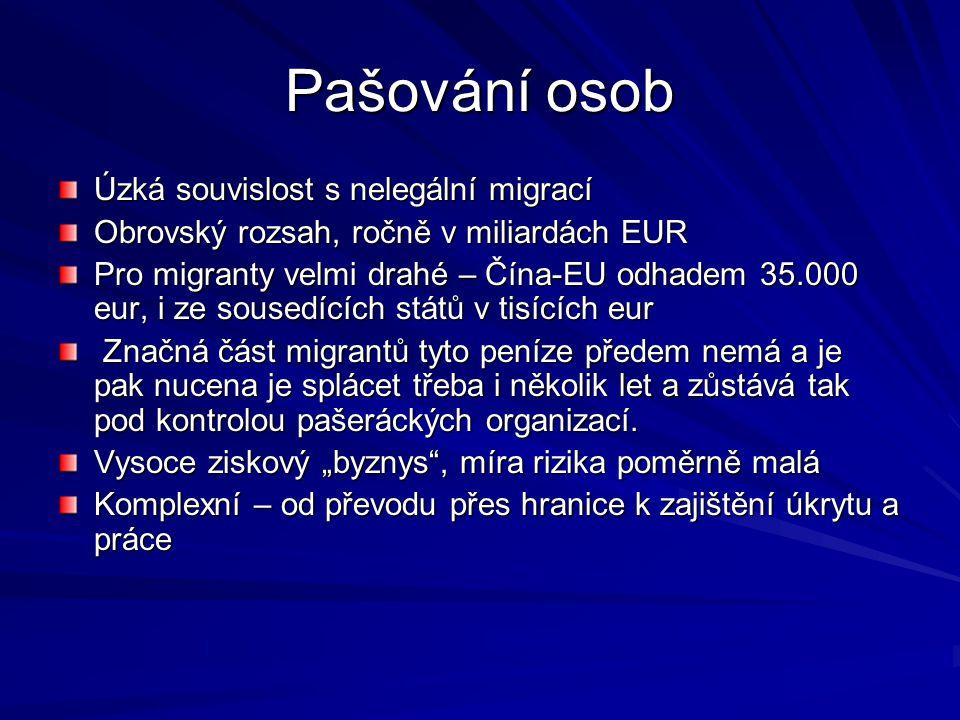 Obchod s lidmi Europol odhaduje ročně na 8-12 miliard eur Často spojeno s problematikou prostituce Zdrojové země - východní Evropa – Rumunsko, Bulharsko, Ukrajina; Asie – Čína, Thajsko Od příslibů práce až k únosům Na území EU dle odhadů až 100.000 takových osob Na území EU dle odhadů až 100.000 takových osob