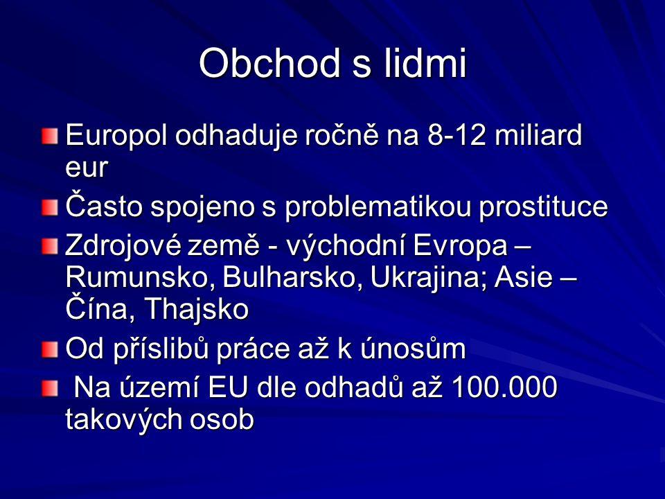 Obchod s lidmi Europol odhaduje ročně na 8-12 miliard eur Často spojeno s problematikou prostituce Zdrojové země - východní Evropa – Rumunsko, Bulhars