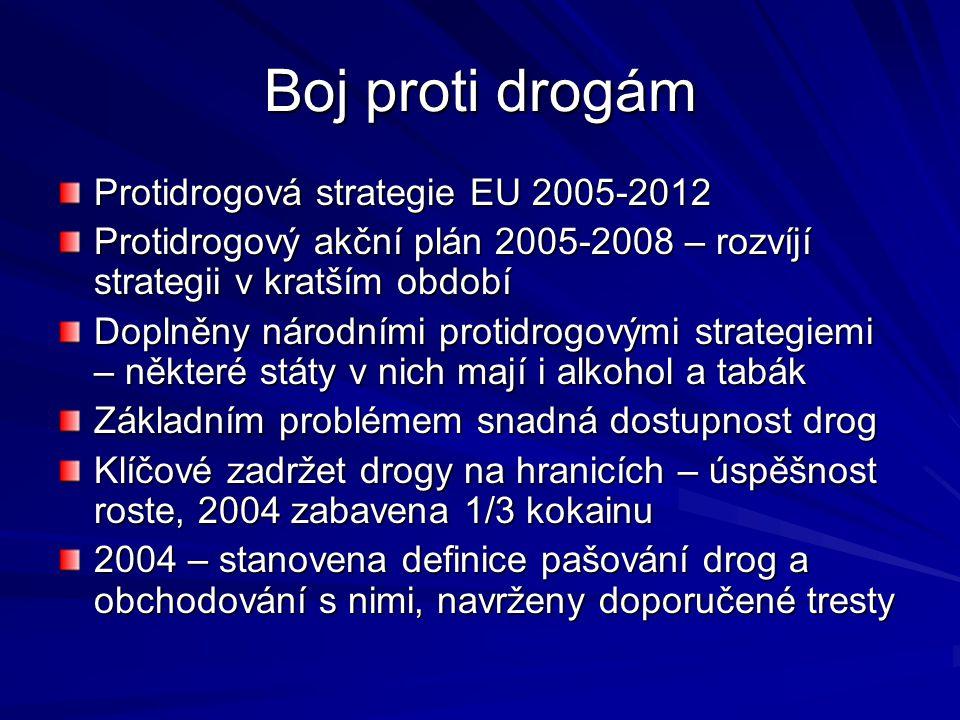 Boj proti drogám Protidrogová strategie EU 2005-2012 Protidrogový akční plán 2005-2008 – rozvíjí strategii v kratším období Doplněny národními protidr