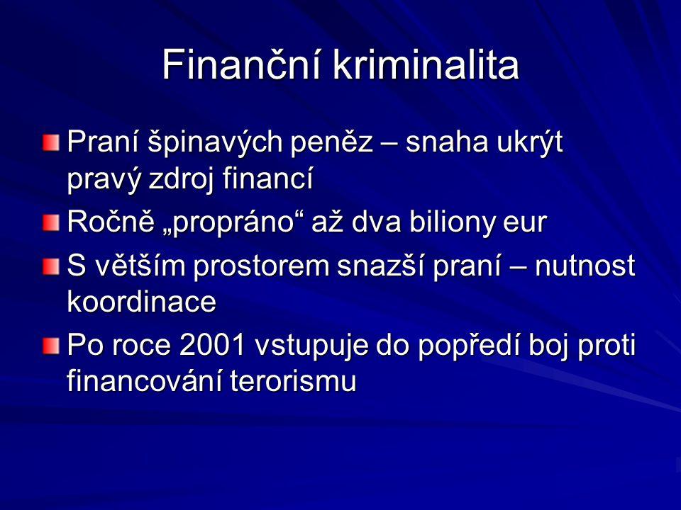 """Finanční kriminalita Praní špinavých peněz – snaha ukrýt pravý zdroj financí Ročně """"propráno"""" až dva biliony eur S větším prostorem snazší praní – nut"""
