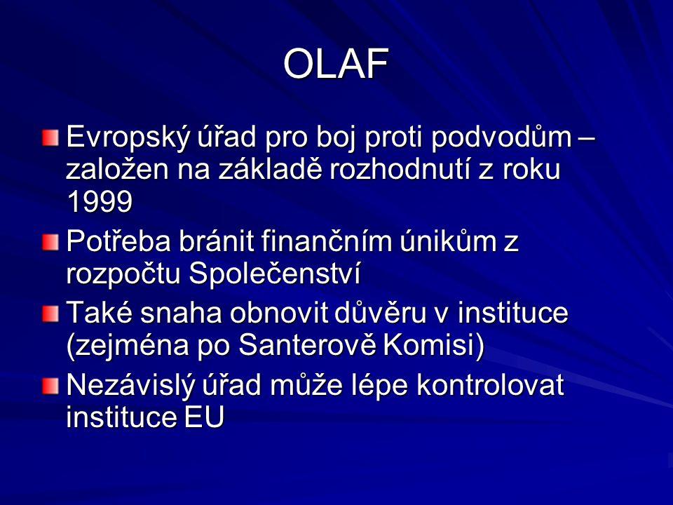 OLAF Evropský úřad pro boj proti podvodům – založen na základě rozhodnutí z roku 1999 Potřeba bránit finančním únikům z rozpočtu Společenství Také sna