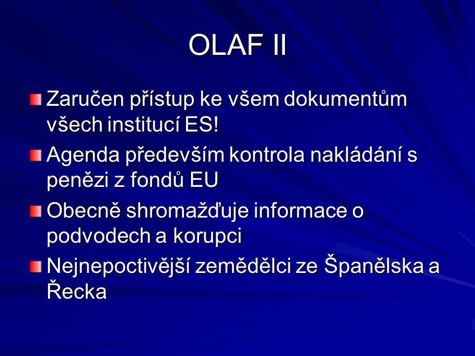 OLAF II Zaručen přístup ke všem dokumentům všech institucí ES! Agenda především kontrola nakládání s penězi z fondů EU Obecně shromažďuje informace o