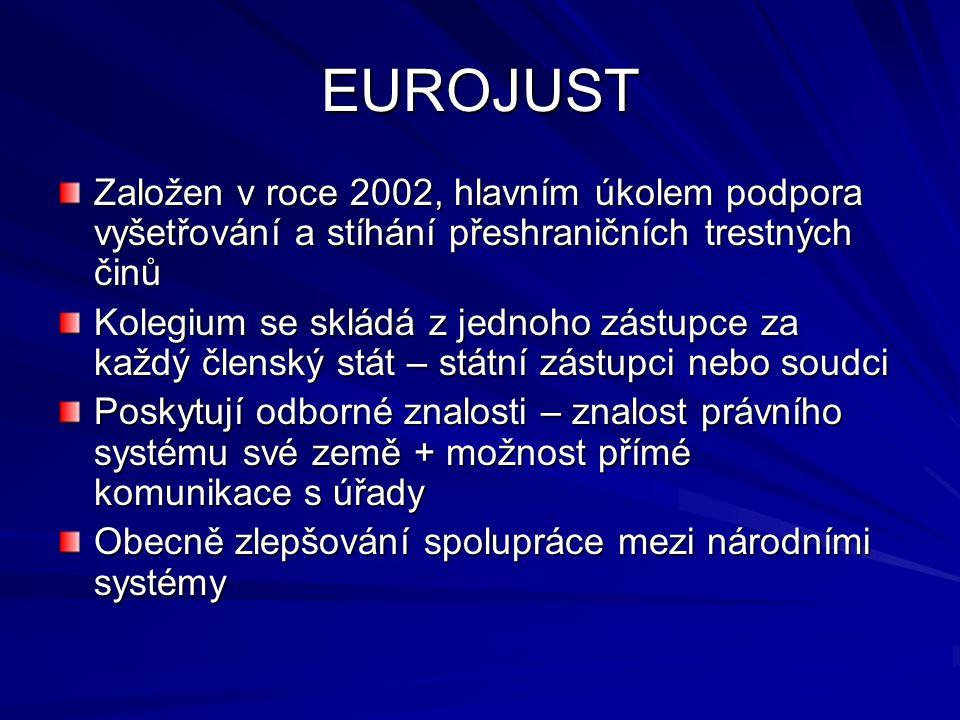 EUROJUST Založen v roce 2002, hlavním úkolem podpora vyšetřování a stíhání přeshraničních trestných činů Kolegium se skládá z jednoho zástupce za každ