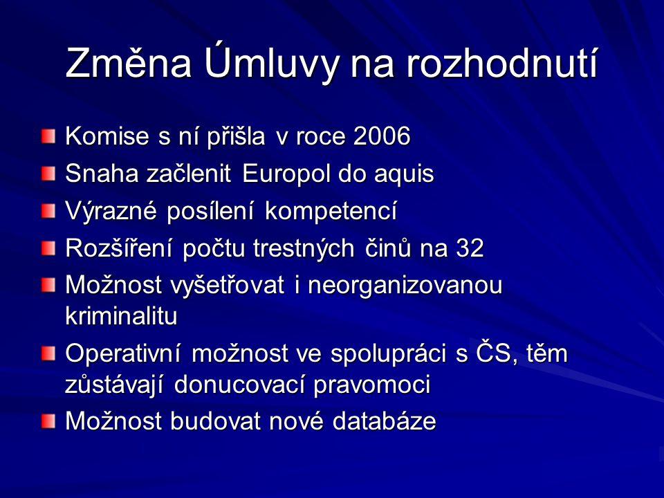Změna Úmluvy na rozhodnutí Komise s ní přišla v roce 2006 Snaha začlenit Europol do aquis Výrazné posílení kompetencí Rozšíření počtu trestných činů n