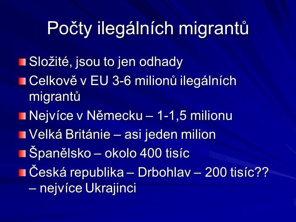 Počty ilegálních migrantů Složité, jsou to jen odhady Celkově v EU 3-6 milionů ilegálních migrantů Nejvíce v Německu – 1-1,5 milionu Velká Británie –