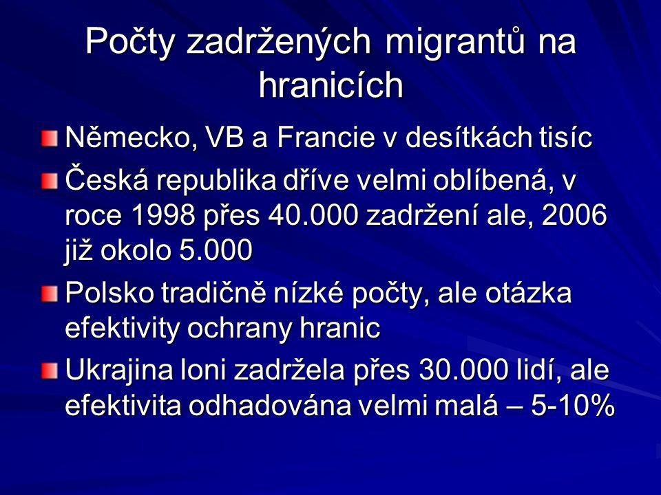 Počty zadržených migrantů na hranicích Německo, VB a Francie v desítkách tisíc Česká republika dříve velmi oblíbená, v roce 1998 přes 40.000 zadržení