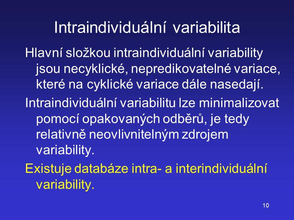 10 Intraindividuální variabilita Hlavní složkou intraindividuální variability jsou necyklické, nepredikovatelné variace, které na cyklické variace dál