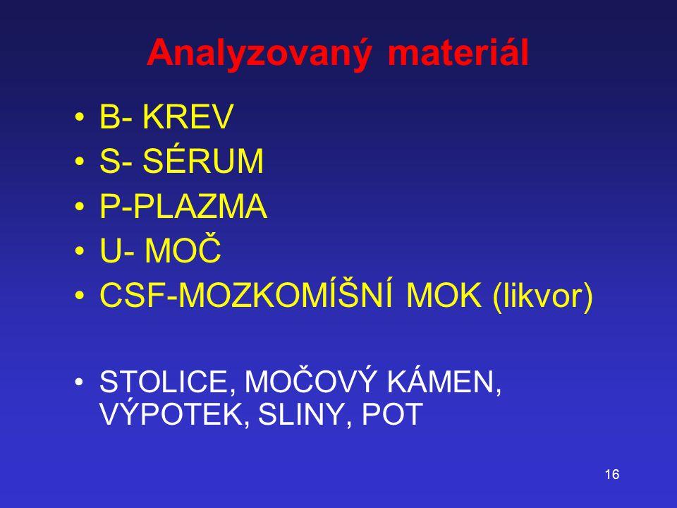 16 Analyzovaný materiál B- KREV S- SÉRUM P-PLAZMA U- MOČ CSF-MOZKOMÍŠNÍ MOK (likvor) STOLICE, MOČOVÝ KÁMEN, VÝPOTEK, SLINY, POT