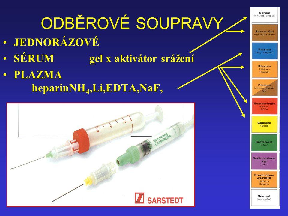 25 ODBĚROVÉ SOUPRAVY JEDNORÁZOVÉ SÉRUMgel x aktivátor srážení PLAZMA heparinNH 4,Li,EDTA,NaF,