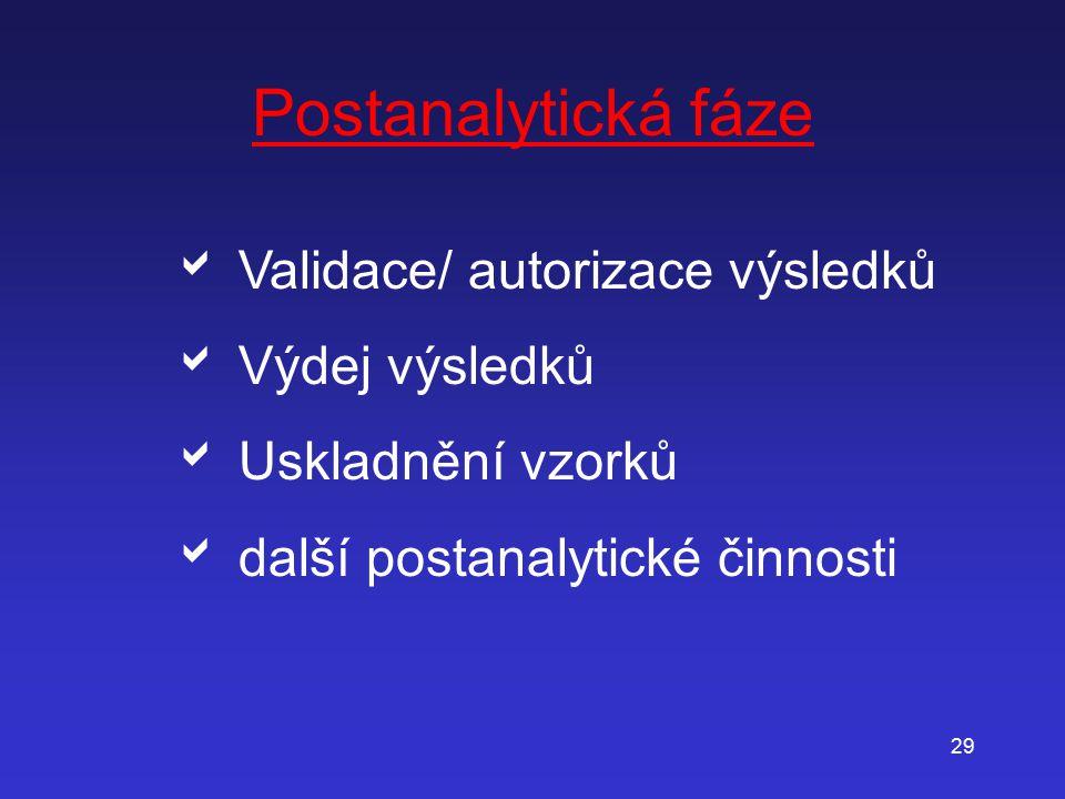 29 Postanalytická fáze   Validace/ autorizace výsledků   Výdej výsledků   Uskladnění vzorků   další postanalytické činnosti