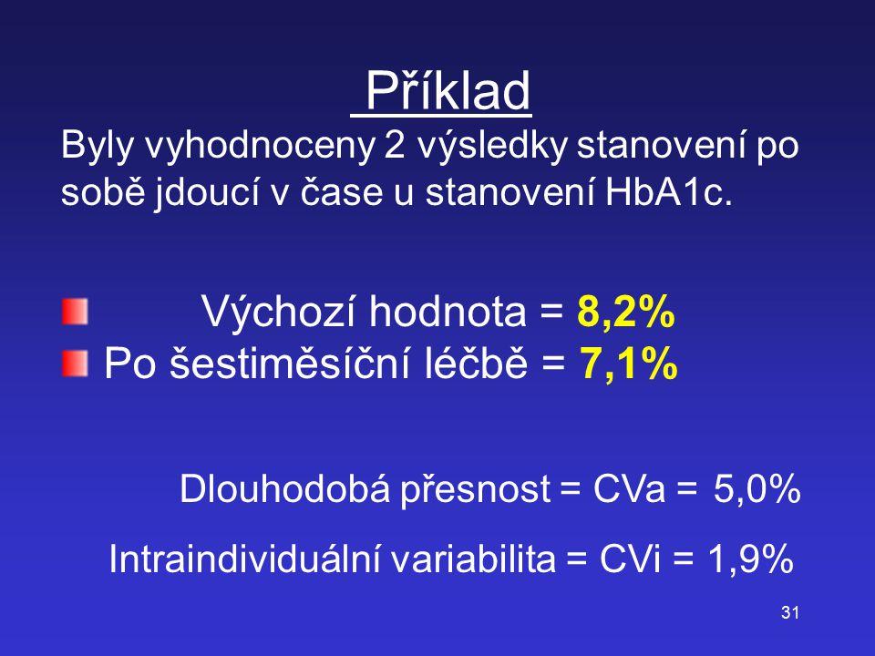 31 Příklad Byly vyhodnoceny 2 výsledky stanovení po sobě jdoucí v čase u stanovení HbA1c. Výchozí hodnota = 8,2% Po šestiměsíční léčbě = 7,1% Dlouhodo