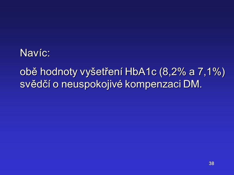 38 Navíc: obě hodnoty vyšetření HbA1c (8,2% a 7,1%) svědčí o neuspokojivé kompenzaci DM.