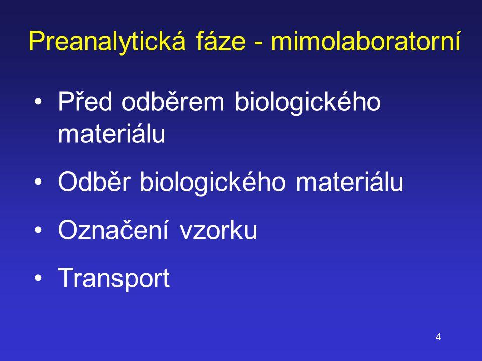 4 Preanalytická fáze - mimolaboratorní Před odběrem biologického materiálu Odběr biologického materiálu Označení vzorku Transport