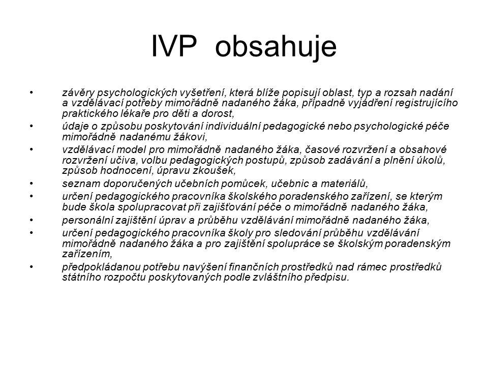 IVP obsahuje závěry psychologických vyšetření, která blíže popisují oblast, typ a rozsah nadání a vzdělávací potřeby mimořádně nadaného žáka, případně