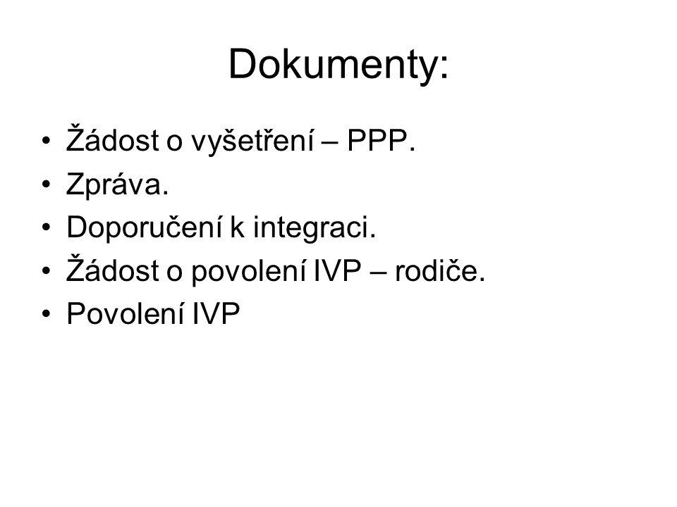 Dokumenty: Žádost o vyšetření – PPP. Zpráva. Doporučení k integraci. Žádost o povolení IVP – rodiče. Povolení IVP