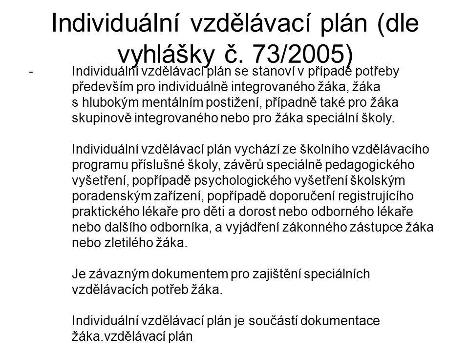 Individuální vzdělávací plán (dle vyhlášky č. 73/2005) -Individuální vzdělávací plán se stanoví v případě potřeby především pro individuálně integrova