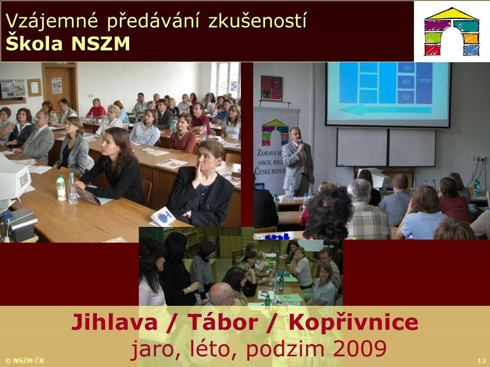 © NSZM ČR12 Vzájemné předávání zkušeností Škola NSZM Jihlava / Tábor / Kopřivnice jaro, léto, podzim 2009