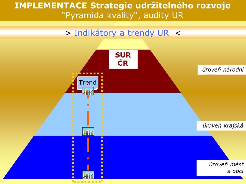 © NSZM ČR 200716 SUR ČR IMPLEMENTACE Strategie udržitelného rozvoje Pyramida kvality , audity UR Trend > Indikátory a trendy UR < úroveň národní úroveň krajská úroveň měst a obcí
