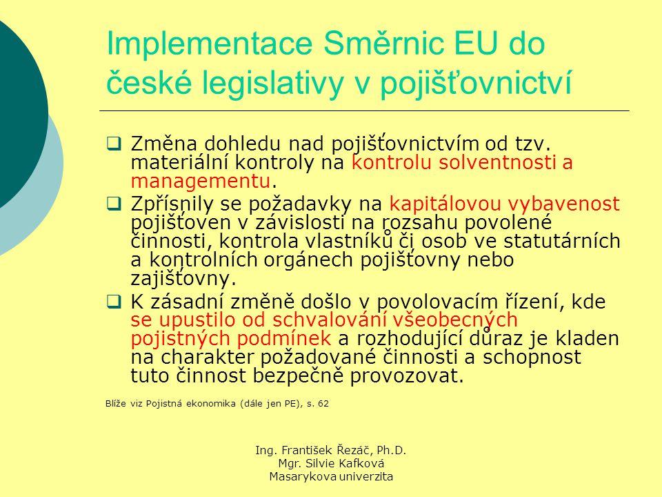 Ing. František Řezáč, Ph.D. Mgr. Silvie Kafková Masarykova univerzita Implementace Směrnic EU do české legislativy v pojišťovnictví  Změna dohledu na
